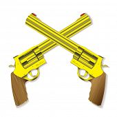 Old fashioned golden hand guns crossed with background shadow