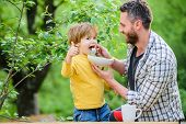 Feeding Baby. Menu For Children. Family Enjoy Homemade Meal. Father Son Eat Food And Have Fun. Nutri poster