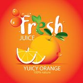 Vector Banner Or Label With Juicy Orange, Two Orange Slices, Drops Of Juice And Large Lettering Fres poster