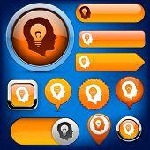 Idea orange design elements for website or app. Vector eps10.