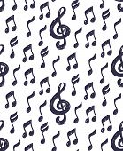 Musical Notes And Treble Clef Simple Sketchy Seamless Vector Pattern poster