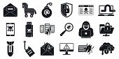Cyber Attack Virus Icons Set. Simple Set Of Cyber Attack Virus Vector Icons For Web Design On White  poster