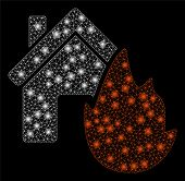 Glowing Mesh House Fire Disaster With Glitter Effect. Abstract Illuminated Model Of House Fire Disas poster