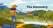 Adventure Banner With Young Man In The Mountains, Travel On Hiking Trails. Adventure Travel. Summer  poster