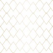 Vector Gold And White Geometric Texture. Elegant Seamless Pattern With Thin Lines, Diamonds, Rhombus poster