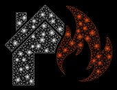 Glowing Mesh Home Fire Disaster With Glitter Effect. Abstract Illuminated Model Of Home Fire Disaste poster
