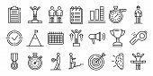 Coach Icons Set. Outline Set Of Coach Vector Icons For Web Design Isolated On White Background poster