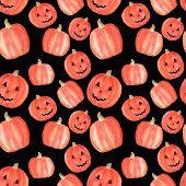 Watercolor Pumpkin Halloween Seamless Pattern On Black. Halloween Symbol. Halloween Party Decoration poster