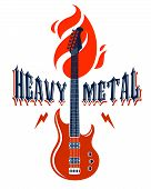 Heavy Metal Emblem With Electric Guitar Vector Logo, Concert Festival Or Night Club Label, Music The poster