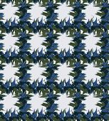 Smudged Iris Checks. Floral Checks With Smudged Blue Iris Flower In Watercolor With Green Leaves And poster