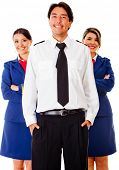 picture of cabin crew  - Airplane cabin crew with pilot and air hostesses  - JPG