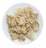 Dumplings On A White  Plate Isolated On White Background .boiled Dumplings.meat Dumplings Top View . poster