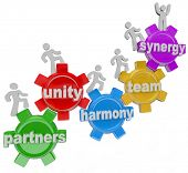 A group of people walking upward on connected gears with the words Partners; Unity; Harmony; and Syn