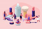 Women In Beautician Parlor. Female Characters Testing Skin Care Products In Beauty Salon. Makeup Cou poster
