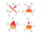 Food And Drink Icons. Muffin Cupcake Symbol. Fork And Knife Sign. Hot Coffee Cup. Food Platter Servi poster