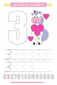 Funny Children Flashcard Number Three. Unicorn With Hearts Learning To Count And To Write. Coloring  poster