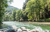 Natural Panorama Of The River Noguera Pallaresa With Strong Currents, Typical Of Summer. Province Of poster