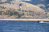 Wind Surfer Riding The Wind, Hood River Or.