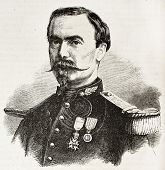 Commander Lamy old engraved portrait (dead during Puebla attack, Mexico). Created by Chenu, published on L'Illustration, Journal Universel, Paris, 1863