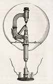 Electricity Exposition (1882, Paris): Reynier's lamp prototype. By unidentified author, published on