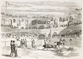 Bullfighting contest in Nimes, France, old illustration. Created by Godefroy-Durand, published on L'Illustration, Journal Universel, Paris, 1863