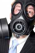Man With Gasmask And Suit