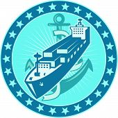 Container Ship With Anchor Stars Retro