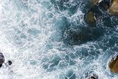Aerial View Of Crashing Waves On Rocks Landscape Nature View And Beautiful Tropical Sea With Sea Coa poster