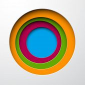 Vector illustration of color paper notched out round bubbles. Eps10.