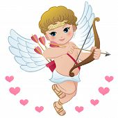 Flying Cupid With Hearts