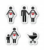 Conjunto de iconos de vector de mujer embarazada