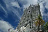 Suchindram Temple Dedicated To The Gods Shiva, Vishnu And Brahma, Protected By Unesco. Kanniyakumari