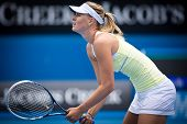 MELBOURNE - JANUARY 12: Maria Sharapova of Russia  in a warm up match in the leadup to the 2013 Aust