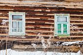Old Timbered Wall Of Rustic House