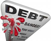 image of overspending  - A thermometer measuring your increasing debt and budget defecit - JPG