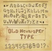 Old Newspaper Type - Alphabet and numbers cut out of the old newspapers, set