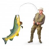 The fisherman with big fish (Brown Trout - Salmo Trutta). Success concept.