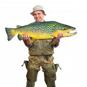 stock photo of trout fishing  - The fisherman with big fish  - JPG