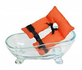 stock photo of clawfoot  - Life vest with security belts in a bathtub for nautical safety  - JPG