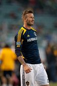 CARSON, CA - APRIL 14: David Beckham warms up before the MLS game between the Los Angeles Galaxy and the Portland Timbers on April 14th 2012 at the Home Depot Center in Carson, Ca.