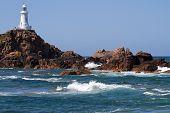 Le Corbiere Leuchtturm auf der Insel Jersey, Großbritannien