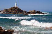 Le Corbiere Leuchtturm auf der Insel Jersey, UK