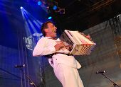 Austrian Musician Hubert Von Goisern Performs On Stage In Linz