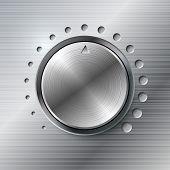 Volumen metálico plantilla vector de perilla de rotación.
