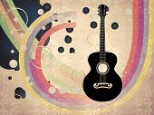 Grunge Background With Acoustic Guitar