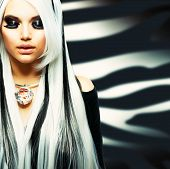 Beauty Fashion Girl black and white style. Long White Hair with Black Stripes.