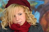 Pretty Blonde Girl With Hat