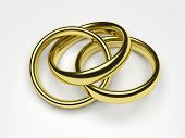 stock photo of cheater  - 3d render illustration of a gold ring attached to two rings - JPG