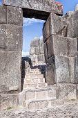 Stone Doorway, Sacsaywaman Inca ruins, Sacred Valley Cuzco Peru