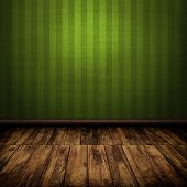 Dark Vintage Green Room Interior With Wooden Floor